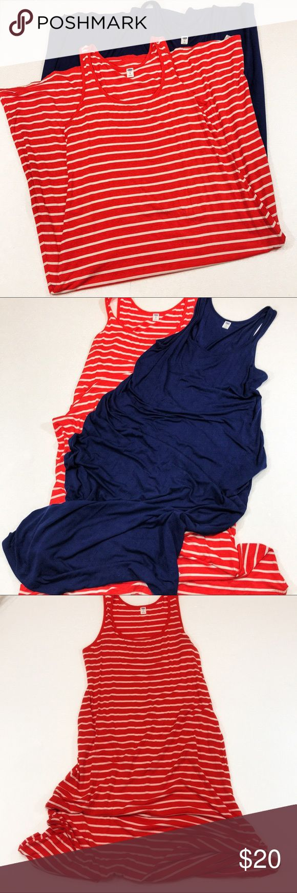 Bundle of 2 Old Navy Jersey Maxi Dresses Size XL Bundle of 2 Old Navy sleeveless jersey Maxi Dresses Size XL. EUC, navy dress worn twice and orange and white striped dress worn once. Stretchy comfortable cool material. Measurements are in the photos. Old Navy Dresses Maxi