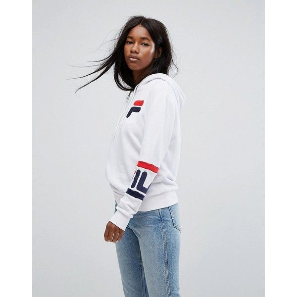 Fila Oversized Boyfriend Hoodie With Chest Logo & Arm Bands (£67) ❤ liked on Polyvore featuring tops, hoodies, white, boyfriend hoodies, polo hoodie, white hooded sweatshirt, tall hooded sweatshirt and polo hooded sweatshirt