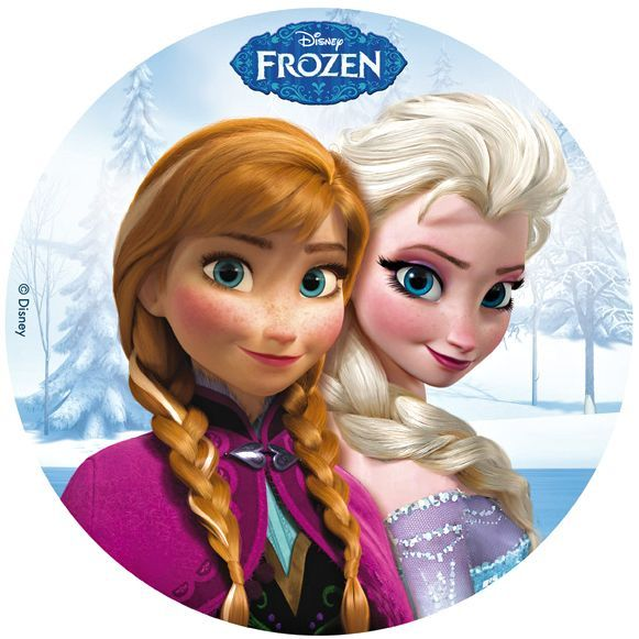 Cialda per torte raffiguranti i protagonisti del film Disney Frozen - Il regno di ghiaccio. http://decorazioniperdolci.it/frozen-cialda-torta.html