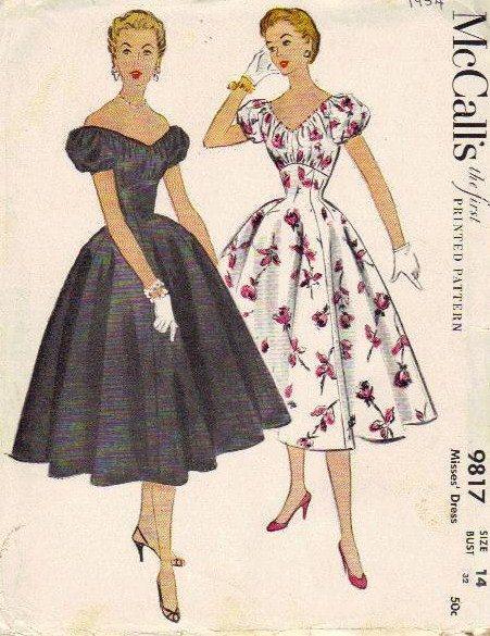 Mccall S 1950s Sewing Pattern Full Skirt Swing Dress Puff
