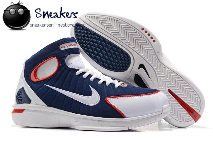 Latest Discount Nike Kobe Air Zoom Huarache 2K4 Retro 308475-400 Mens Sneakers Navy Blue White Red