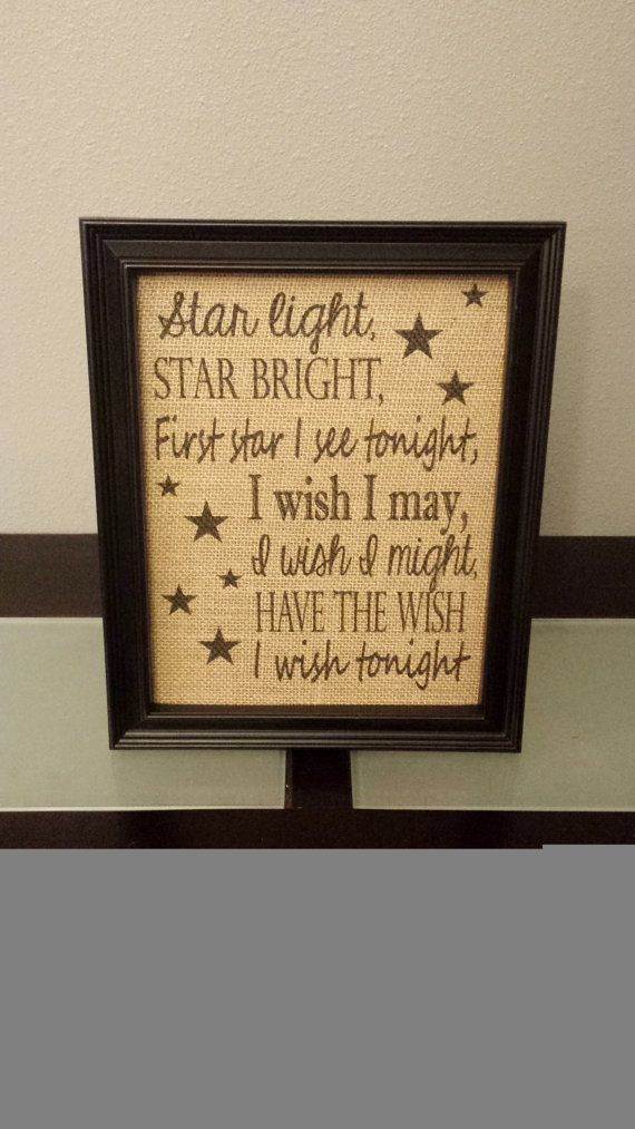 Framed Burlap Print  Star Light Star Bright  by DideschDelights, $25.00