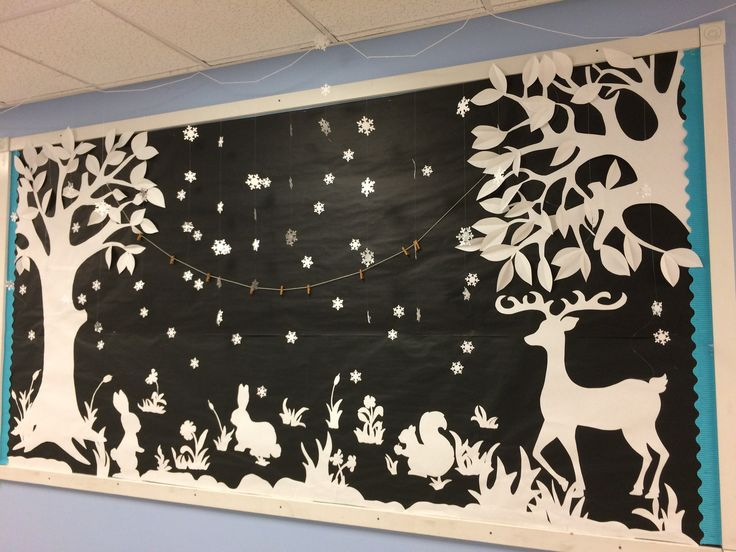 Winter Bulletin Board Christmas Snow Landscape Paper Art Snow flakes