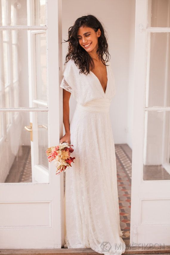 Plunging wedding dress wedding dresses lace bridal gown by mimetik