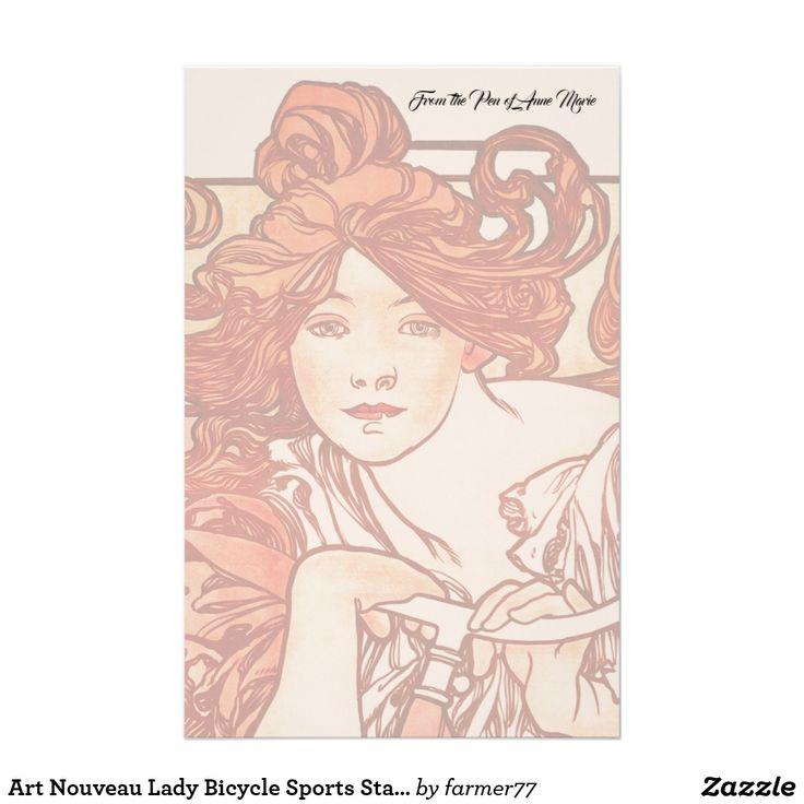 Art Nouveau Lady Bicycle Sports Stationery