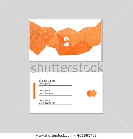 Business card low poly background - stock vector