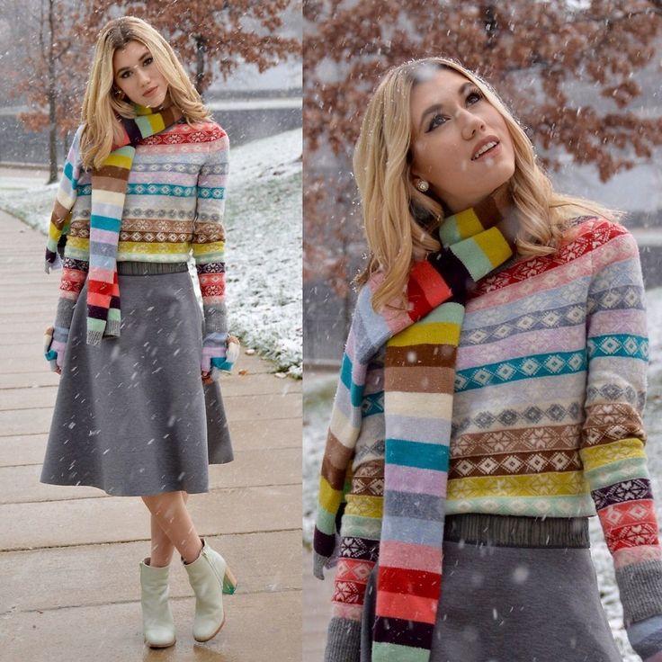 Dani Mikaela McGowan - Gap Fair Isle Sweater, Anthropologie Gray Midi Skirt, Gap Rainbow Scarf, Miista Mint Green Booties - Merry and Bright | LOOKBOOK жаккард полоски