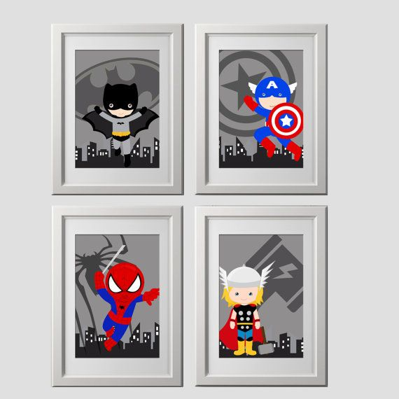 Superhero wall art prints, superhero wall decor, cute for superhero bedroom, high quality prints, pick 4 characters,  shipped to your door