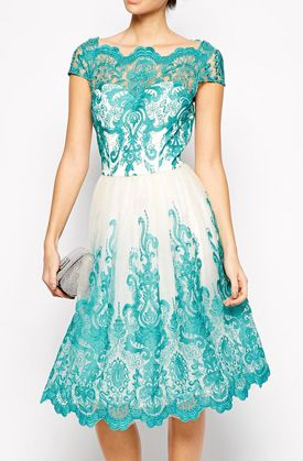 Lovely Clusters Boutique: Chi Chi London Premium Embroidered Lace Prom Dress with Bardot Neck - Green