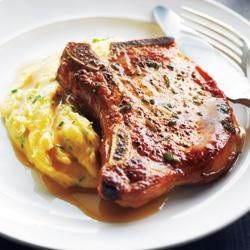 Pork Chops With Cider Sauce and Creamy Herb Polenta - the polenta ...