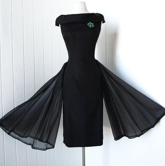 vintage 1950s dress ...so audrey black wiggle SIDE BUSTLE SWAG shawl collar bow pin-up bombshell cocktail dress