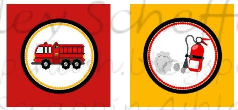 Firefighter. Fire truck. Printable. Cupcake by scrappinash on Etsy