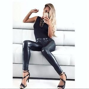 8313ccbae3b029 Faux Leather Leggings gothic Sexy High significantly thin elastic pants  Pencil fitness Women Leggings Leggings Women Free Size