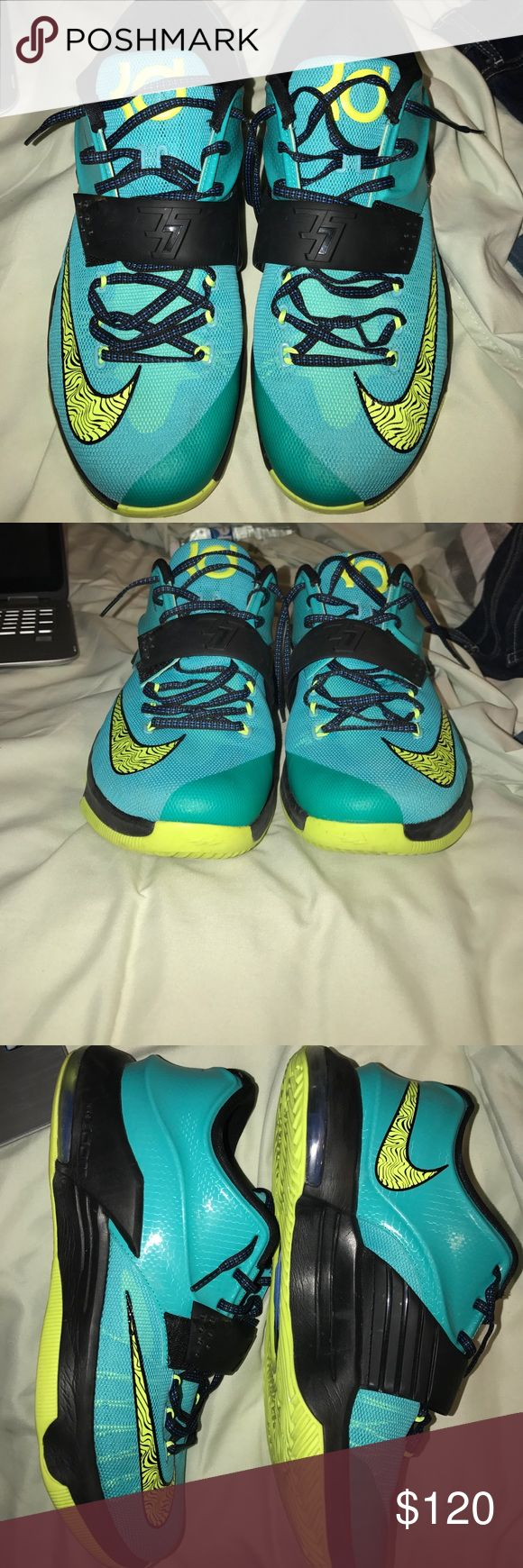 Kevin Durant 7s, KD 7s Kevin Durant 7's, only worn a few times. Sorry don't have the box, but shoes are in great condition with no scuffs or creases. Willing to negotiate on price so feel free to offer anything reasonable. Nike Shoes Athletic Shoes