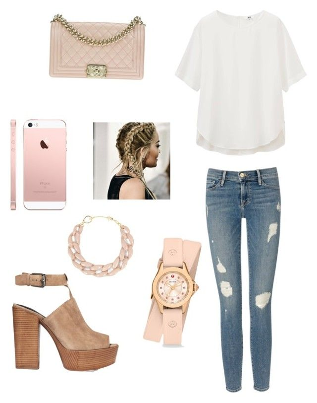 """Untitled #2"" by brittany97-1 on Polyvore featuring Uniqlo, Frame Denim, Rebecca Minkoff, Chanel, DIANA BROUSSARD and Michele"