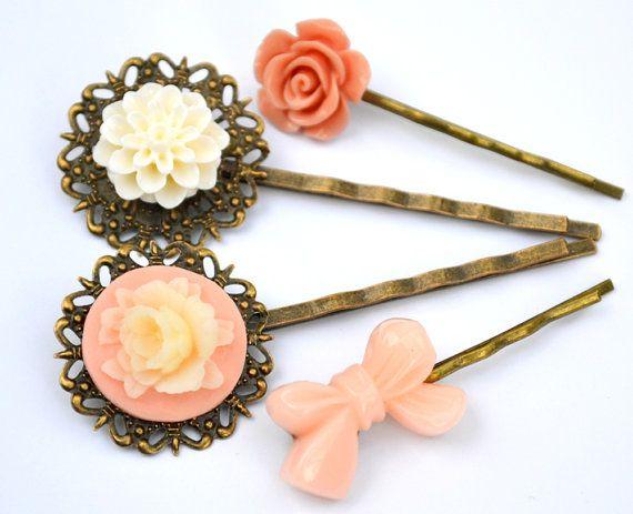 Mother daySalmon nude creamresin flower bobby by artemisartdesign, $16.00