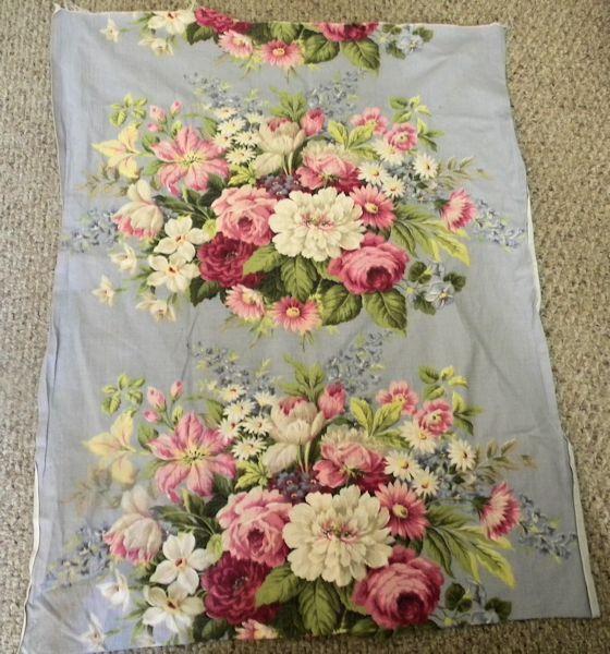 Shabby Vintage Barkcloth Cotton Fabric Rose Floral
