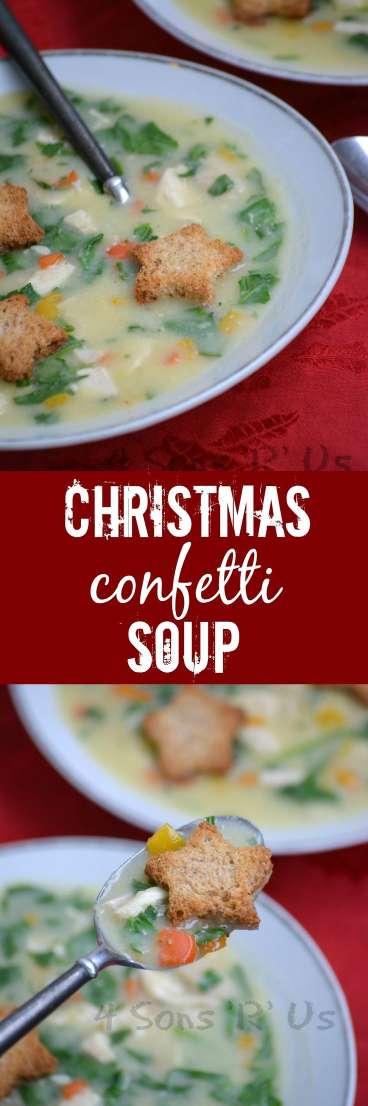 A festive chicken soup that's perfect for the holiday season, this Christmas Confetti Chicken Soup features green baby spinach. It's speckled with colorful sweet peppers and topped with fun star-shaped croutons, making it a yummy, festive, warm bowl of cheer.