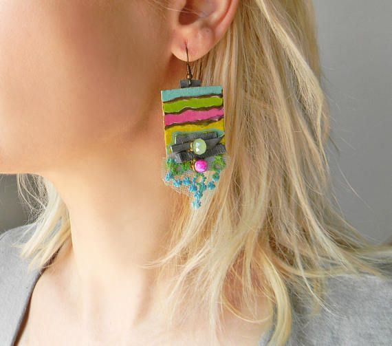 Hand painted multicolor earrings Paper dangle earrings in