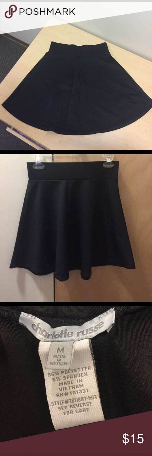 Never worn! Black skater skirt Black skater skirt with thick stretchy bad, perfect for a date or night out Charlotte Russe Skirts Circle & Skater