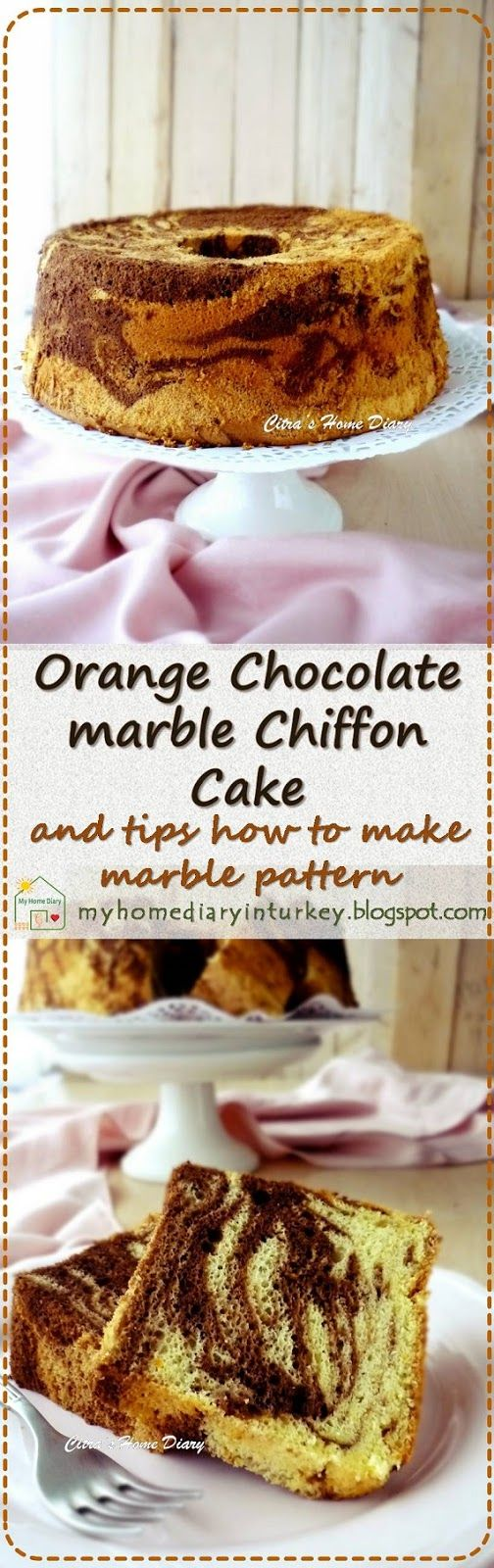 Orange Chocolate marble Chiffon Cake and tips how to make marble pattern-Çitra'sHomeDiary. #chiffoncake #marblecake #kekmarmer #chocolatecake #orangecake #orangechiffon