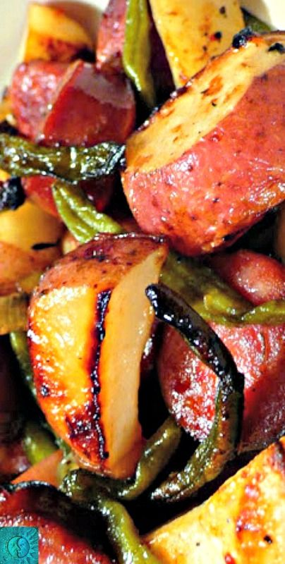 Roasted Potatoes with Smoked Sausage and Green Beans ~ Simple and delicious