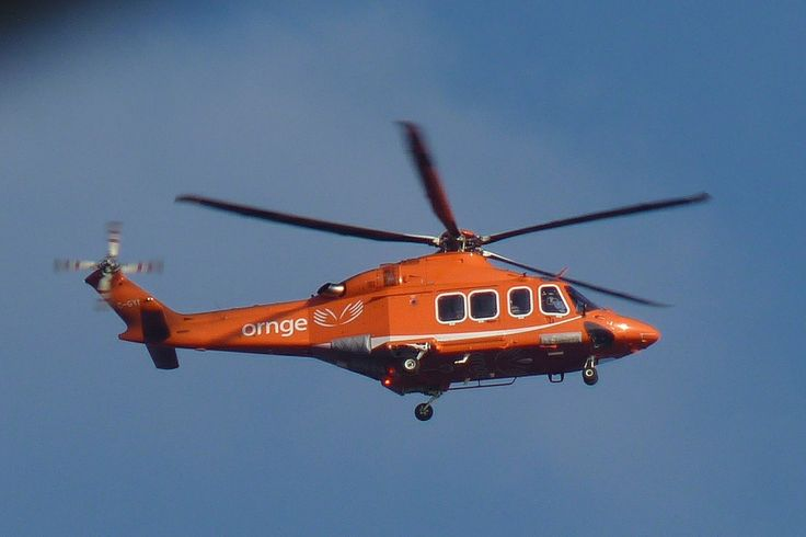 Ornge Flying over LaSalle Marina in Burlington. Ornge is the Air Ambulance Service for the province of Ontario Canada.