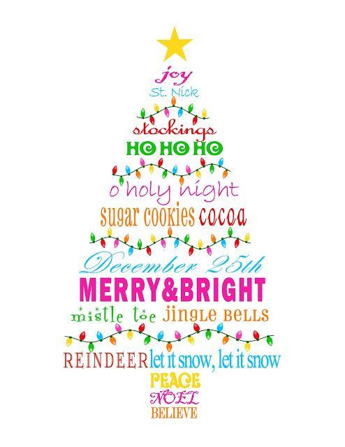 MBC: {Merry & Bright} Christmas Tree Subway Art Printable #december #daily #christmas