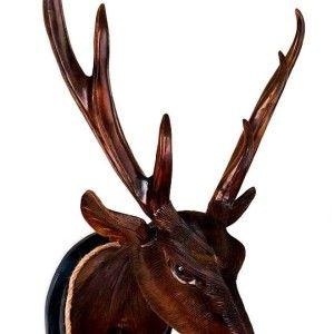 Hand Carved Solid Wood Deer Head