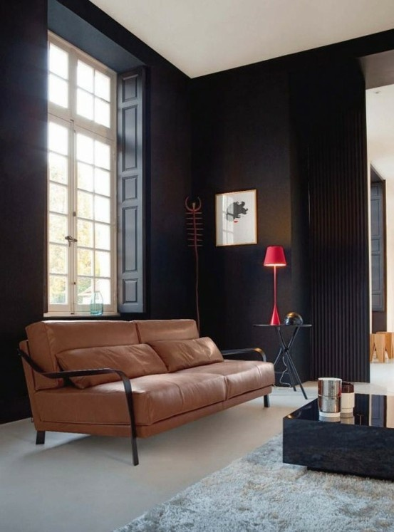 Gorgeous Sofa And Fantastic Dark Walls Interior ModernRoom DesignLiving