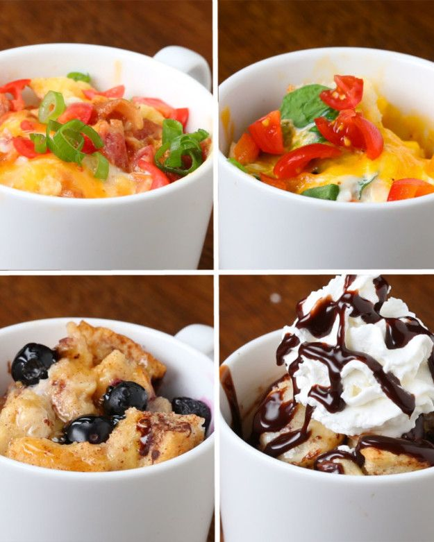 Fast Breakfast In A Mug 4 Ways | I don't think these would be cooked through in a minute and a half, though...
