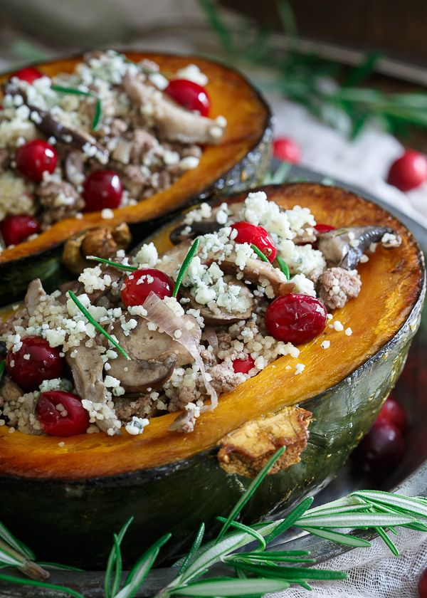 Sweet roasted kabocha squash is stuffed with wild mushrooms, couscous, lamb, fresh cranberries, blue cheese and aromatic rosemary. It's the best fall has to offer on your plate.
