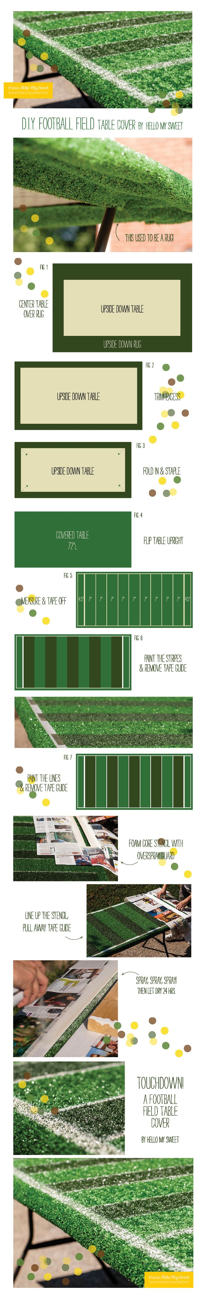 Here's a different way to do a football field table cover for a Super Bowl party or tailgate.
