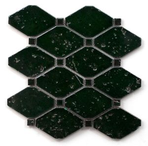 Rhomba & Dot mosaic in Emerald Green. Also available in Metallic and Antique Blue. #mosaic #tile #glossy #emerald #green
