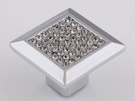 glass crystal drawer knob pulls cabinet door handles dresser pulls knobs kitchen cupboard knob handle hardware silver square rhinestone