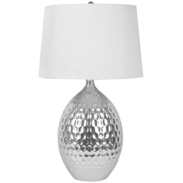 J. Hunt Silver Ceramic Table Lamp, Silver/White ($120) ❤ liked on Polyvore featuring home, lighting, table lamps, white table lamp, silver table lamp, white lights, colored lights and silver light