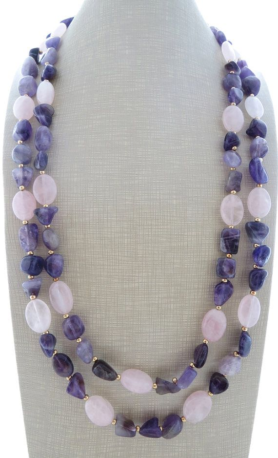 Amethyst necklace purple stone necklace double raw by Sofiasbijoux