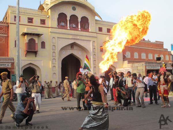 #fire show in teej festival in #jaipur #rajasthan #india #amazing