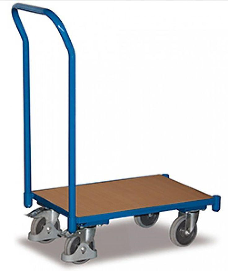 GTARDO.DE:  Euro-System-Roller mit Bügel, Boden bündig, Ladefläche 610 x 410 mm, Maße 742 x 416 x 969 mm 77,00 €