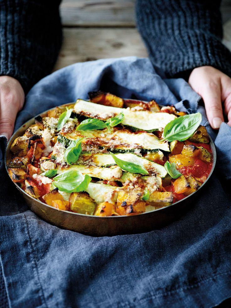 Lasagne van pompoen en courgette met ricotta