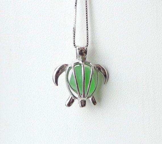Sea Glass Turtle Locket Maris Stella Green Sterling by WaveofLife #seaglass #beach #sea #glass #locket #necklace #turtle #seaturtle #honu #green #waveoflife #marisstella