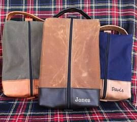 Waxed Canvas Golf Shoe Bag/ Father's Day Gift/ Country Club/ Golfing/ Sports Bag/ Luggage Travel Case