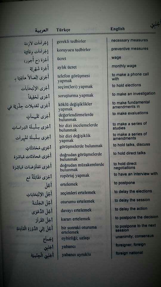 أفعال في اللغة التركية