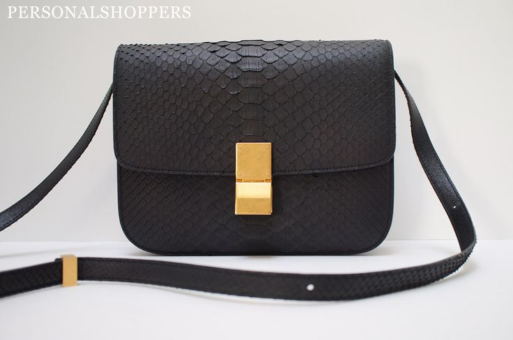 CELINE CLASSIC MEDIUM BOX BAG BLACK MATTE PYTHON GOLD HARDWARE ...
