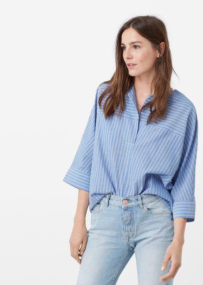 Blusa righe cotone