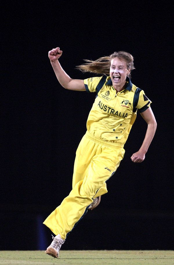 Ellyse Perry of Australia celebrates after dismissing Stefanie Taylor of West Indies during the final between Australia and West Indies of the Women's World Cup. February 17, 2013 in Mumbai, India.