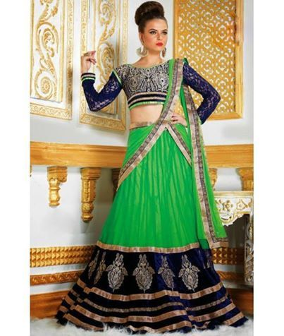 Indulge in this most exotic form of ethnic wear with delicate work and fine embellishments only @ Ethnicstation.com!! http://d3yixtv62v40e.cloudfront.net/all-stores/image_ethnicstation/data/product/Lehenga-Choli-Online-Green-Lace-Work-Lehenga-PF1608-550x650.jpg