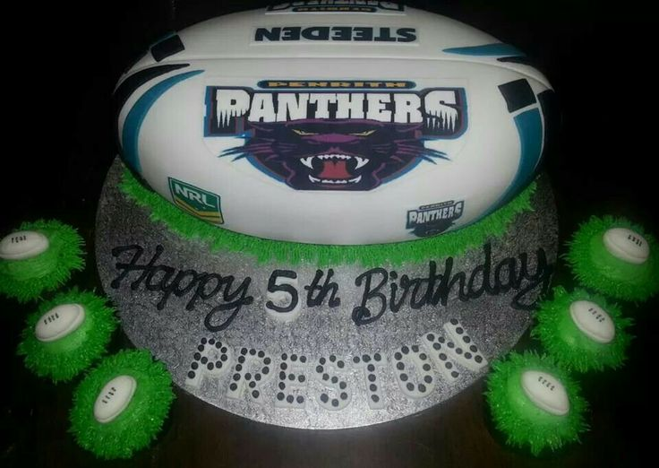 Football cake and cupcakes #Panthers #NRL