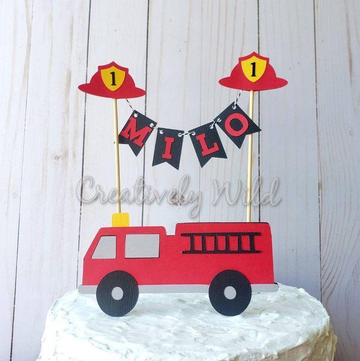 Firetruck Cake Topper Firetruck Party Decor Custom Firetruck Cake Topper Centrepiece Firefighter Party Decor Fire Engine Cake Topper