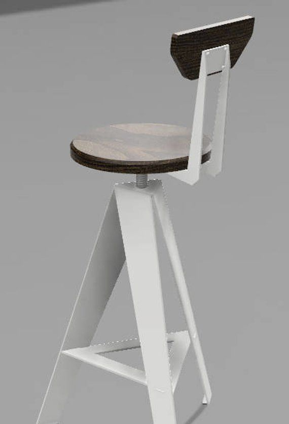 White Windmill Stool, Counter Height, Backrest, Walnut Seat ...